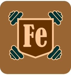 Shield with fe text and dumbbells vector