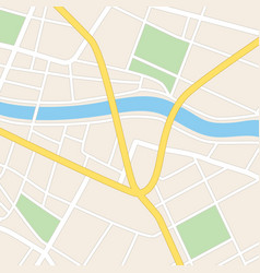Square map with river - streets and parks vector