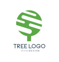 tree logo original design green eco badge vector image vector image
