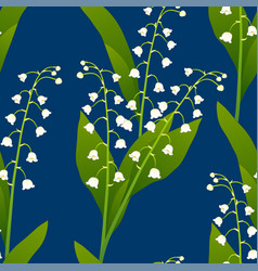 white lily of the valley on indigo blue vector image vector image