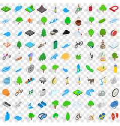 100 beautiful icons set isometric 3d style vector