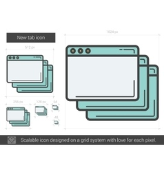 New tab line icon vector