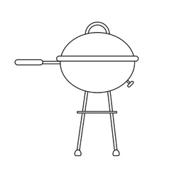 Outline grill barbecue kettle camping vector
