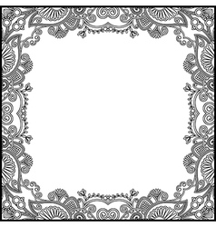 Black and white floral vintage frame vector