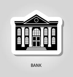 Bank building web sticker icon vector