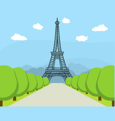 Cartoon eiffel tower famous landmark of paris vector
