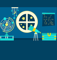 The magic room of astronomy vector