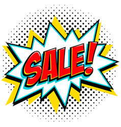 comics style sale tag red sale web banner pop vector image
