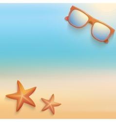 Sandy beach with starfish and sunglasses summer vector