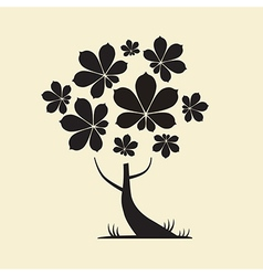 Abstract tree silhouette with chestnut leaves vector