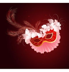 Luxurious red mask with a veil vector