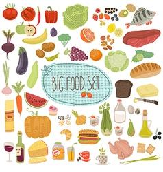 Big food set vector image
