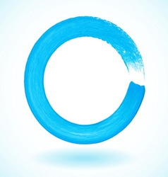 Bright blue paintbrush circle frame vector
