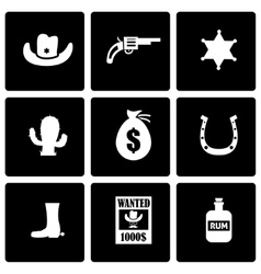 Black wild west icon set vector