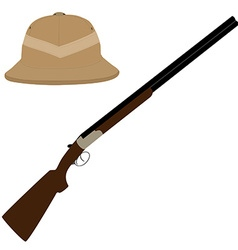 Safari hat and rifle vector