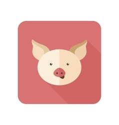 Pig flat icon with long shadow vector