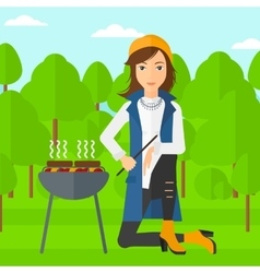 Woman preparing barbecue vector