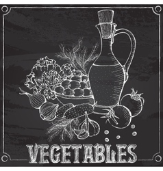 chalk still life with vegetables and oil vector image
