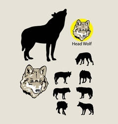 Wolf silhouettes and logo vector