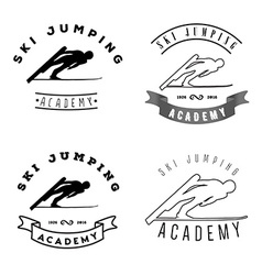 Set of logos with jumping skier silhouette winter vector