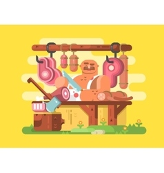 Butcher cuts meat vector