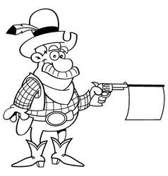 Cartoon cowboy shooting a gun with a sign vector image