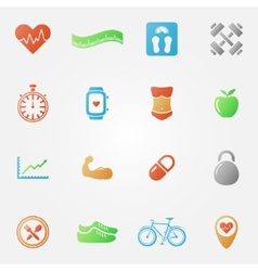 Bright fitness icons set vector image vector image