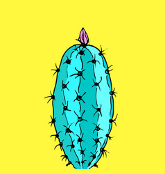 Cactus on yellow background minimal fashion vector