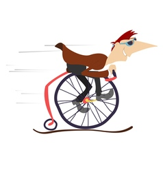 Cartoon man rides a comic bike vector image vector image