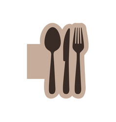 Color emblem with silhouette cutlery vector