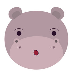 Colorful caricature cute face of hippo surprised vector