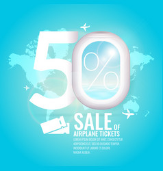 conceptual poster sales and discounts of airaplane vector image vector image