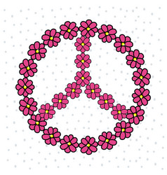 Cute hippie emblem with flowers vector