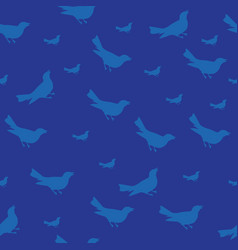 dark blue bird silhouet seamless pattern vector image