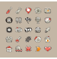 Doodle Cars Icons Set vector image
