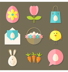 Easter icons set with shadows over brown vector image vector image