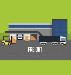 Freight transportation banner with warehouse vector