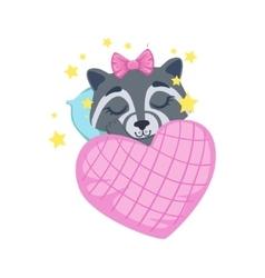 Girl raccoon sleeping vector