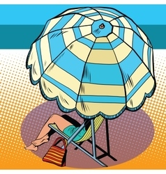 Girl under a beach umbrella vacation at sea vector
