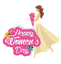 Happy womens day girl flowers vector