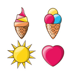 Ice cream heart and sun cute colorful set icon vector