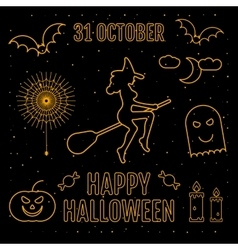 Linear trendy happy halloween silhouettes witch vector