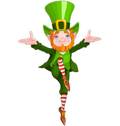 lucky dancing leprechaun vector image