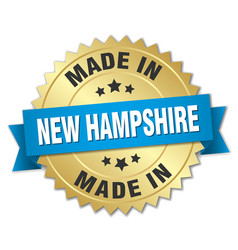 Made in new hampshire gold badge with blue ribbon vector