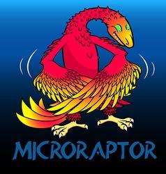 Microraptor cute character dinosaurs vector