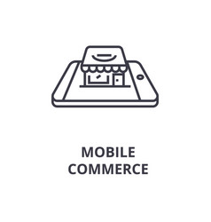 mobile commerce line icon outline sign linear vector image