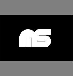 Ms m s black white bold joint letter logo vector