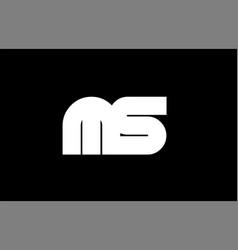 ms m s black white bold joint letter logo vector image vector image