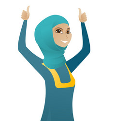 Muslim business woman standing with raised arms up vector