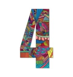 Number 4 with hand drawn abstract doodle pattern vector